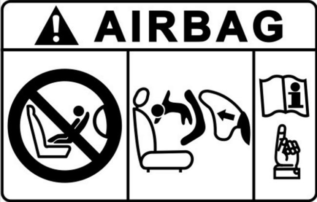 Схема срабатывания подушки безопасности с пассажирской стороны с детским креслом