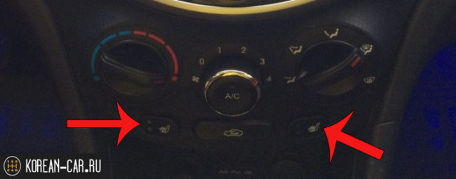 Кнопки подогрева сидений на Хёндай Солярис