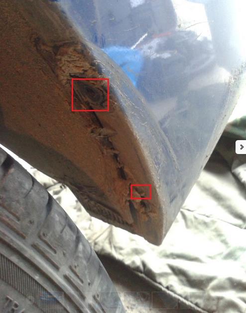 Точки крепления заднего бампера к кузову под брызговиками Хёндай Солярис