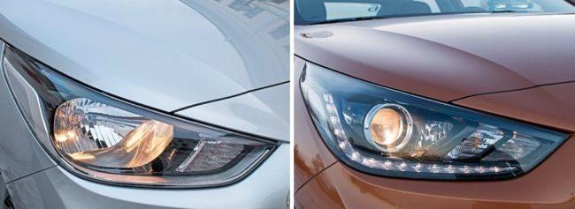 Сравнение рефлекторных и линзовых фар автомобилей Хёндай Солярис 2019 года в разных комплектациях