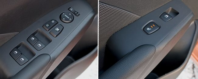 Дверные подлокотники с кнопками управления в автомобиле Хёндай Солярис 2019 года