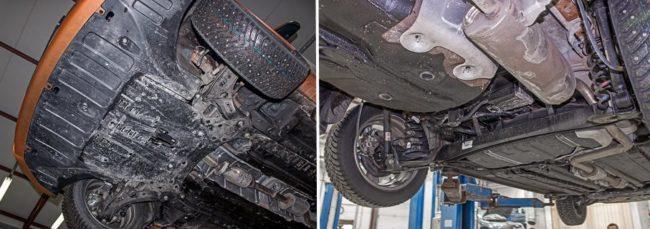 Вид снизу на узлы подвески и трансмиссии автомобиля Хёндай Солярис 2019 модельного года