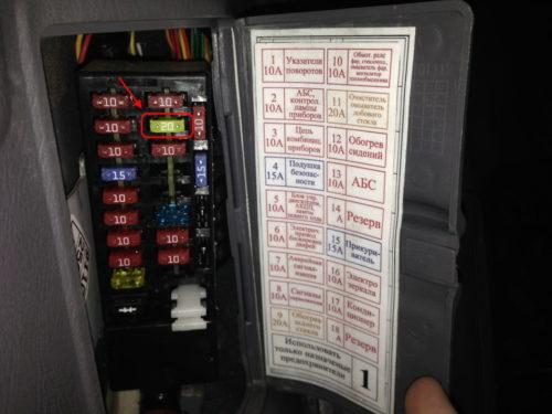 Фото и расшифровка предохранителей в салонном блоке автомобиля Хёндай Акцент