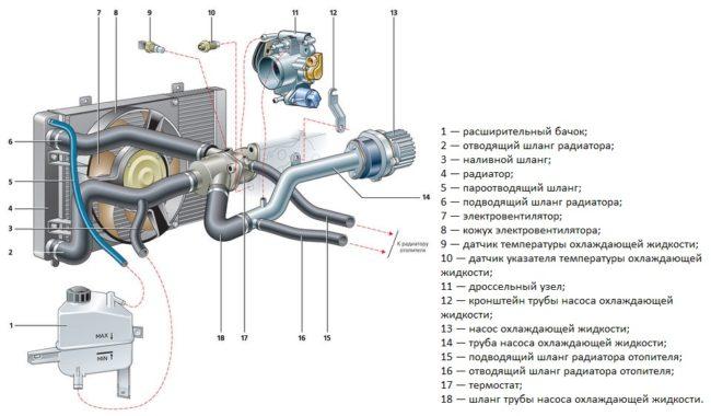 Схема системы охлаждения двигателя Лада Калина.