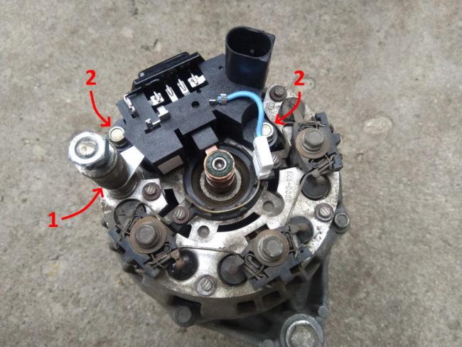 Схема крепления реле регулятора на генераторе автомобиля Лада Калина