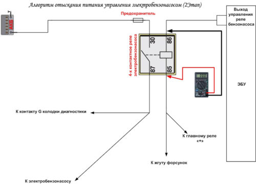 Схема проверки тестером реле бензонасоса в Лада Калина