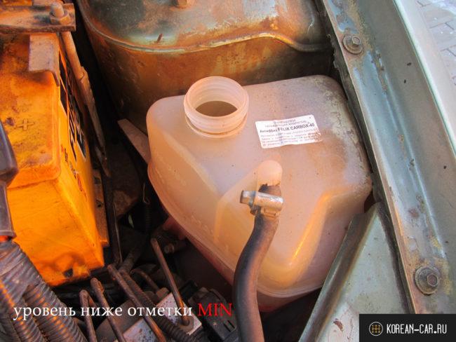 Низкий уровень охлаждающей жидкости в бачке системы охлаждения на Лада Калина