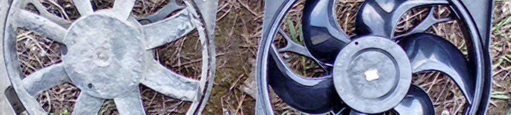 Старый и новый вентилятор охлаждения на Лада Калина снятые