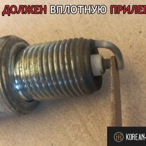 ЩУП с размером 1 мм вплотную по зазорам на свече Brisk ВАЗ-2110